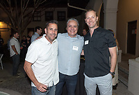 From left, Tim Walsh '98, <br /> Eduardo Santana '99 and Ted Steben '99<br /> Now in his 30th year as Oxy's head men's basketball coach, Brian Newhall received a much deserved celebration with a surprise halftime ceremony and post game reception in the Booth Hall courtyard with more than 70 former and current players from all different generations and decades in attendance, on Saturday, Jan. 26, 2019.<br /> Newhall is the winningest coach in Oxy history and has a 100 percent graduation rate in his 30 years at the helm of the program. His resume boasts multiple SCIAC Championships and NCAA Playoff appearances, along with a run to the NCAA Division III Elite Eight in 2003 and the only perfect 14-0 season in SCIAC history. Newhall has not only coached at Oxy, but was a SCIAC Champion and SCIAC Player of the Year during his playing career at Oxy in the early 80s.<br /> (Photo by Marc Campos, Occidental College Photographer)
