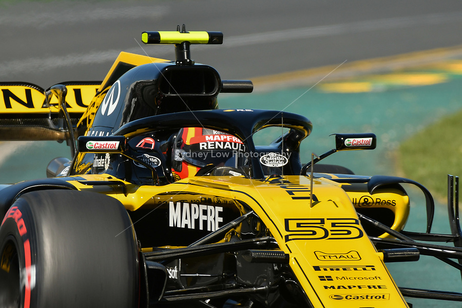 March 23, 2018: Carlos Sainz Jnr (ESP) #55 from the Renault Sport F1 team during practice session one at the 2018 Australian Formula One Grand Prix at Albert Park, Melbourne, Australia. Photo Sydney Low