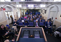Socially distanced reporters wait for President Donald Trump to deliver remarks on the COVID-19 (Coronavirus) pandemic in the Brady Press Briefing Room at the White House in Washington, DC on Wednesday, March 18, 2020. <br /> Credit: Kevin Dietsch / Pool via CNP/AdMedia