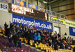 The 144 travelling Ross County fans celebrate their victory before heading back up the A9 to Dingwall
