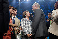 September 4, 2012 - Montreal (Qc) CANADA -  Jean-Francois Lisee onstage with Parti Quebecois (PQ) leader Pauline Marois who won the provincial election and become the first woman elected as Quebec Premier.<br /> <br /> Her speech was interrupted by her bodyguard grabbing her offstage when a man entered the building shooting 2 person (one died so far) and throwing a Molotov cocktail outside.
