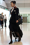 Apr. 12, 2010 - Tokyo, Japan - A flight attendant is pictured at Tokyo's Haneda airport on April 12, 2010. Japan Airlines (JAL) and All Nippon Airways uniforms are now incredibly popular among fans with a uniform fetish and can command exorbitant prices on on-line auction sites.