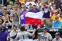 TCU Horned Frogs fans celebrate during the NCAA College World Series fame against the LSU Tigers on June 14, 2015 at TD Ameritrade Park in Omaha, Nebraska. TCU defeated LSU 10-3. (Andrew Woolley/Four Seam Images)