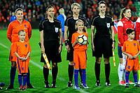 GRONINGEN -  Voetbal, Nederland - Noorwegen, Noordlease stadion, WK kwalificatie vrouwen, 24-10-2017,    arbitrale trio met arbiter Jana Adamkova