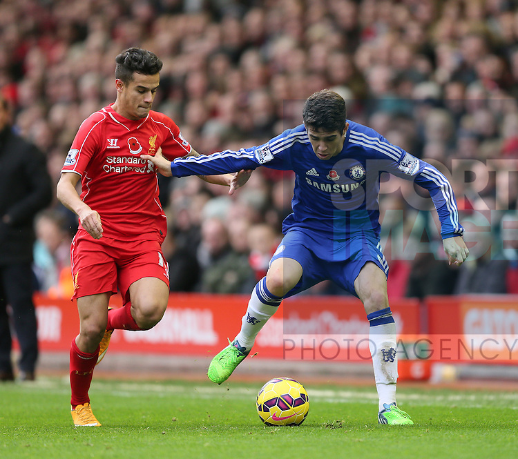 Philippe Coutinho of Liverpool Oscar of Chelsea  - Barclays Premier League - Liverpool vs Chelsea - Anfield Stadium - Liverpool - England - 8th November 2014  - Picture Simon Bellis/Sportimage