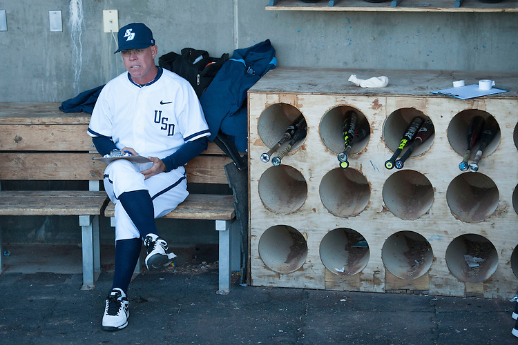May 23, 2013; Stockton, CA, USA; San Diego Toreros head coach Rich Hill watches during the WCC Baseball Championship at Banner Island Ballpark.