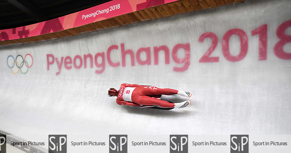 Kristers Aparjods (LAT). Mens luge. Pyeongchang2018 winter Olympics. Alpensia sliding centre. Alpensia. Gangneung. Republic of Korea. 11/02/2018. ~ MANDATORY CREDIT Garry Bowden/SIPPA - NO UNAUTHORISED USE - +44 7837 394578