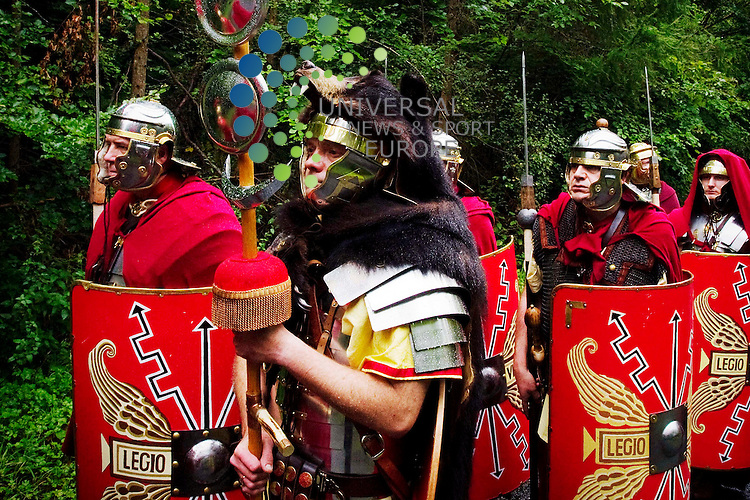 The Antonine Guard march the Antonine Road, an unclasified old Roman Road which runs between Kinkell Bridge and A9, Strathearn, Scotland, 11th September, 2011. Picture information contact deltails Roman Living History Society. www.theantonineguard.org.uk.Picture:Scott Taylor Universal News And Sport (Europe) .All pictures must be credited to www.universalnewsandsport.com. (Office)0844 884 51 22.