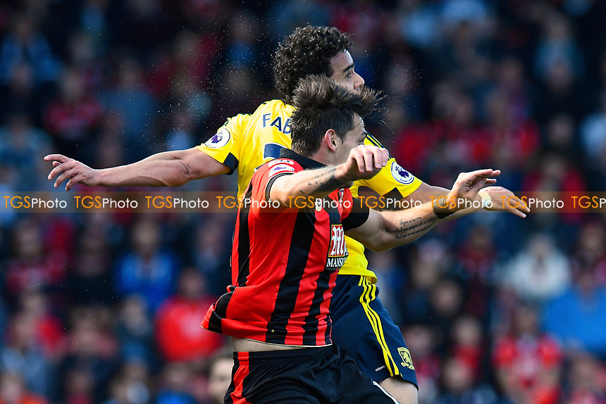 Fabio of Middlesbrough and Charlie Daniels of AFC Bournemouth vie for a header during AFC Bournemouth vs Middlesbrough, Premier League Football at the Vitality Stadium on 22nd April 2017