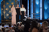 Presenters Emma Stone, Olivia Coleman, and Rachel Weisz onstage during the 76th Annual Golden Globe Awards at the Beverly Hilton in Beverly Hills, CA on Sunday, January 6, 2019.<br /> *Editorial Use Only*<br /> CAP/PLF/HFPA<br /> Image supplied by Capital Pictures