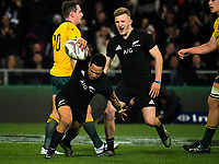 All Blacks tryscorer Aaron Smith celebrates with Damien McKenzie (right) during the Rugby Championship and Bledisloe Cup rugby match between the New Zealand All Blacks and Australia Wallabies at Forsyth Barr Stadium in Dunedin, New Zealand on Saturday, 26 August 2017. Photo: Dave Lintott / lintottphoto.co.nz