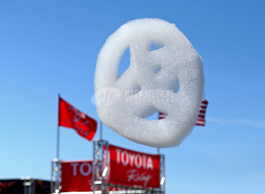 Jun. 1, 2014; Englishtown, NJ, USA; Detailed view of a foam bubble Toyota logo in the air during the Summernationals at Raceway Park. Mandatory Credit: Mark J. Rebilas-