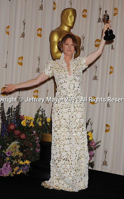 HOLLYWOOD, CA - FEBRUARY 27: Melissa Leo  poses in the press room during the 83rd Annual Academy Awards held at the Kodak Theatre on February 27, 2011 in Hollywood, California.