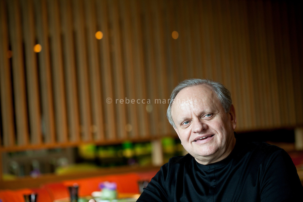 Joël Robuchon, chef and restaurateur, talks to journalist at Yoshi restaurant at the Metropole Hotel, Monaco, 23 March 2012