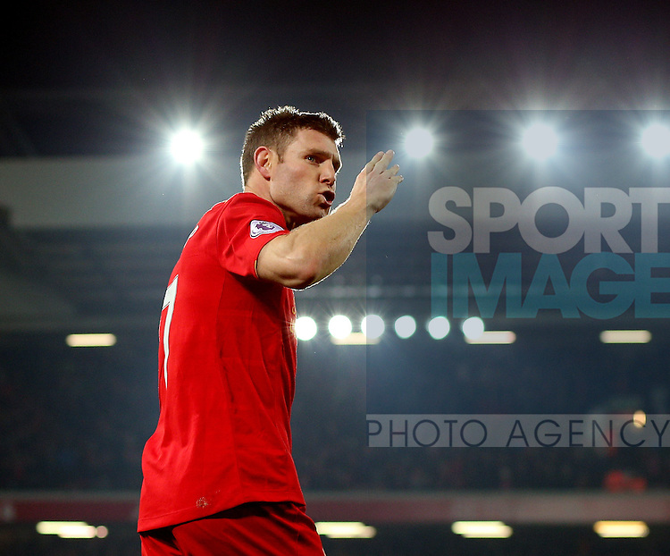 James Milner of Liverpool celebrates scoring the second goal by blowing a kiss to the Kop during the Premier League match at the Anfield Stadium, Liverpool. Picture date: November 26th, 2016. Pic Simon Bellis/Sportimage