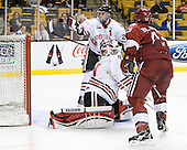 Drew Daniels (Northeastern - 24), Clay Witt (Northeastern - 31), Colin Blackwell (Harvard - 63) - The Harvard University Crimson defeated the Northeastern University Huskies 3-2 in the 2012 Beanpot consolation game on Monday, February 13, 2012, at TD Garden in Boston, Massachusetts.