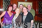 Michelle Kennelly standing front centre from Hertfordshire and Listowel celebrated her 40th birthday with friends in The Mighty Dollar Bar Listowel on Friday night. Pictured front l-r are Alice Deenehy, Michelle Kennelly (birthday girl), Dolores Sugrur. Back l-r B J O' Connor Butt Nolan and John Shanahan.   Copyright Kerry's Eye 2008