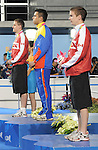 November 13 2011 - Guadalajara, Mexico: Adam Rahier and Maxime Rouselle receives their Silver and Bronze medals at the 2011 Parapan American Games in Guadalajara, Mexico.  Photos: Matthew Murnaghan/Canadian Paralympic Committee