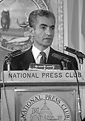 "Mohammad Reza Pahlavi, the Shah of Iran, speaks at a luncheon at the National Press Club in Washington, DC on April 13, 1962.  In his remarks the Shah pledged that Iran ""will always remain a Stronghold of freedom.""  He is in Washington for an official state visit.<br /> Credit: Benjamin E. ""Gene"" Forte / CNP"