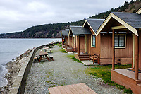 Rental cabins on beach at Cama Beach State Park, Washington, USA