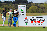 From left, Sung Jun Park, Mitchell Kale and Doug Holloway. Day one of the Jennian Homes Charles Tour / Brian Green Property Group New Zealand Super 6's at Manawatu Golf Club in Palmerston North, New Zealand on Thursday, 5 March 2020. Photo: Dave Lintott / lintottphoto.co.nz