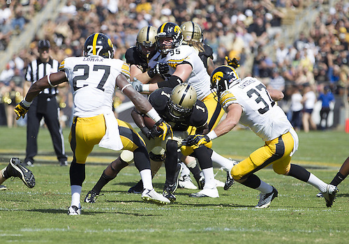 September 27, 2014:  Purdue running back Akeem Hunt (1) runs with the ball during NCAA Football game action between the Iowa Hawkeyes and the Purdue Boilermakers at Ross-Ade Stadium in West Lafayette, Indiana. Iowa defeated Purdue 24-10.