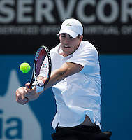 JOHN ISNER..Tennis - Apia Sydney International -  Sydney 2013 -  Olympic Park - Sydney - NSW - Australia.Wednesday 9th January  2013. .© AMN Images, 30, Cleveland Street, London, W1T 4JD.Tel - +44 20 7907 6387.mfrey@advantagemedianet.com.www.amnimages.photoshelter.com.www.advantagemedianet.com.www.tennishead.net