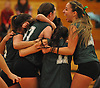 Seaford No. 20 Alyssa Lombardo, far right, and teammates celebrate after their 3-0 win over Lynbrook in the Nassau County varsity girls' volleyball Class B final at SUNY Old Westbury on Wednesday, Nov. 11, 2015.<br /> <br /> James Escher
