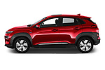Car driver side profile view of a 2019 Hyundai Kona EV Creative 5 Door SUV