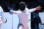 Koki Kano (JPN), <br /> AUGUST 19, 2018 - Fencing : <br /> Men's Individual Epee Round of 16 <br /> at Jakarta Convention Center Cendrawasih <br /> during the 2018 Jakarta Palembang Asian Games <br /> in Jakarta, Indonesia. <br /> (Photo by Naoki Nishimura/AFLO SPORT)