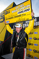 Oct 28, 2018; Las Vegas, NV, USA; NHRA top fuel dragster driver Steve Torrence celebrates after clinching the 2018 top fuel world championship during the Toyota Nationals at The Strip at Las Vegas Motor Speedway. Mandatory Credit: Mark J. Rebilas-USA TODAY Sports