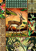 Kris, ETHNIC, paintings,+gazelle++++,PLKKE378,#ethnic# Africa