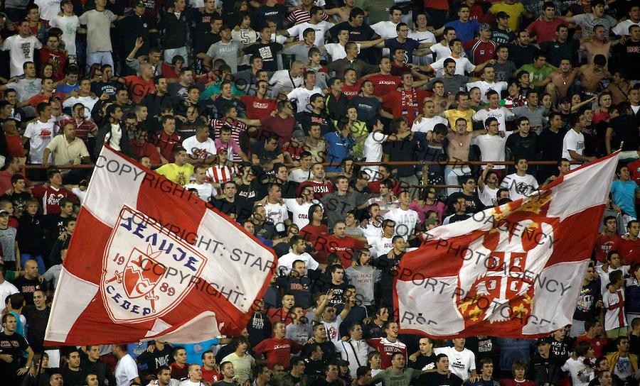 Fudbal.FK Crvena Zvezda Vs. FK Rad.Delije, navijaci, zastave, fans, supporters, flgs.Beograd, 23.08.2009..foto: Srdjan Stevanovic/Starsportphoto ©