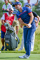 Dustin Johnson (USA) watches his tee shot on 12 during Thursday's round 1 of the 117th U.S. Open, at Erin Hills, Erin, Wisconsin. 6/15/2017.<br /> Picture: Golffile | Ken Murray<br /> <br /> <br /> All photo usage must carry mandatory copyright credit (&copy; Golffile | Ken Murray)