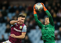 Queens Park Rangers' goalkeeper Alex Smithies saves under pressure from Aston Villa's Scott Hogan<br /> <br /> Photographer Andrew Kearns/CameraSport<br /> <br /> The EFL Sky Bet Championship -  Aston Villa v Queens Park Rangers - Tuesday 13th March 2018 - Villa Park - Birmingham<br /> <br /> World Copyright &copy; 2018 CameraSport. All rights reserved. 43 Linden Ave. Countesthorpe. Leicester. England. LE8 5PG - Tel: +44 (0) 116 277 4147 - admin@camerasport.com - www.camerasport.com