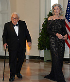 Former United States Secretary of State Henry Kissinger and Nancy Kissinger arrive for the State Dinner hosted by United States President Donald J. Trump and First lady Melania Trump in honor of Prime Minister Scott Morrison of Australia and his wife, Jenny Morrison, at the White House in Washington, DC on Friday, September 20, 2019.<br /> Credit: Ron Sachs / Pool via CNP