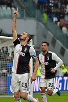 1st December 2019; Allianz Stadium, Turin, Italy; Serie A Football, Juventus versus Sassuolo; Leonardo Bonucci of Juventus celebrates after scoring the goal for 1-0 for Juventus in the 20th minute - Editorial Use