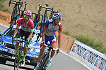Thibaut Pinot (FRA) Groupama-FDJ and Rigoberto Uran (COL) EF-Drapac-Cannondale on the final climb near the end of Stage 20 of the La Vuelta 2018, running 97.3km from Andorra Escaldes-Engordany to Coll de la Gallina, Spain. 15th September 2018.                   <br /> Picture: Colin Flockton | Cyclefile<br /> <br /> <br /> All photos usage must carry mandatory copyright credit (© Cyclefile | Colin Flockton)