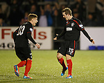 David Templeton celebrates his goal with Lewis Macleod