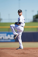Peoria Javelinas starting pitcher Bubba Derby (12), of the Milwaukee Brewers organization, delivers a pitch during an Arizona Fall League game against the Scottsdale Scorpions at Peoria Sports Complex on November 15, 2018 in Mesa, Arizona. Peoria defeated Scottsdale 2-1. (Zachary Lucy/Four Seam Images)