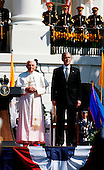 The pope and the President stand on the podium at the Arrival Ceremony hosted  in the South Lawn of the  White House, Washington DC, April 16, 2008..