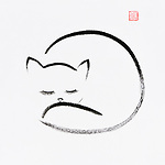 Cute snuggly sleeping cat artistic oriental style illustration, Japanese Zen Sumi-e ink painting on white rice paper background