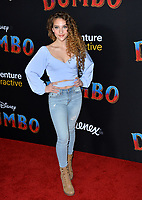 """LOS ANGELES, CA. March 11, 2019: Sofie Dossi at the world premiere of """"Dumbo"""" at the El Capitan Theatre.<br /> Picture: Paul Smith/Featureflash"""