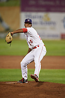 Auburn Doubledays relief pitcher Joan Adon (24) delivers a pitch during a game against the Hudson Valley Renegades on September 5, 2018 at Falcon Park in Auburn, New York.  Hudson Valley defeated Auburn 11-5.  (Mike Janes/Four Seam Images)