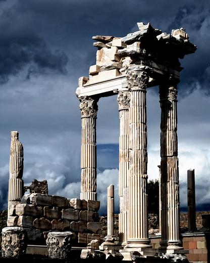Ancient ruins of the temple of Trajan in Pergamum, Turkey