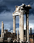 Ancient ruins of the temple of Trajan in Pergamum, Turkey