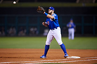 Oklahoma City Dodgers first baseman Max Muncy (13) waits to receive a throw during a game against the Colorado Springs Sky Sox on June 2, 2017 at Chickasaw Bricktown Ballpark in Oklahoma City, Oklahoma.  Colorado Springs defeated Oklahoma City 1-0 in ten innings.  (Mike Janes/Four Seam Images)