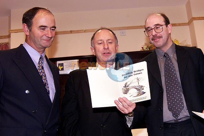John Savage, chairman St. Feckin's GFC, Minister Dermot Ahern and Charles Collier at the launch of the Termonfeckin community survey report and recommendations..Picture: Paul Mohan/Newsfile