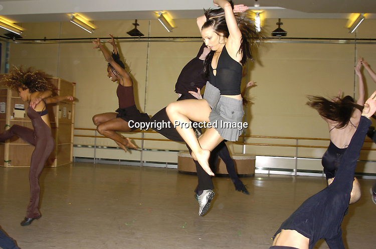 """the Cast dancing ..at a rehearsal for the revival of """"Sweet Charity"""" starring ..Christina Applegate and Dennis O'Hare on January 19, 2005 at the New 42nd Street Studios.  ..Photo by Robin Platzer, Twin Images"""