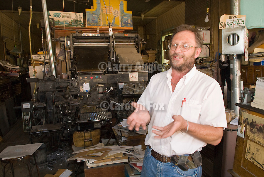 Dean Coombs, third generation newspaperman and owner of the Saguache Crescent Newspaper, last of the hot metal newspapers in the U.S.